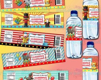 Circus Water label- Circus Labels-Circus Party-Spanish labels-Carnival Party-Carnival Favors-Carnival Water Labels-Clowns-Blank labels