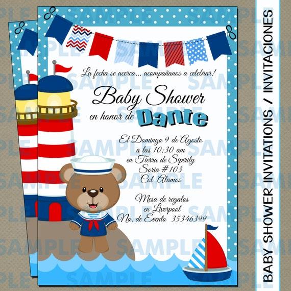 4c28f10671201 Bebé ducha invitaciones Baby shower fiesta marinero oso