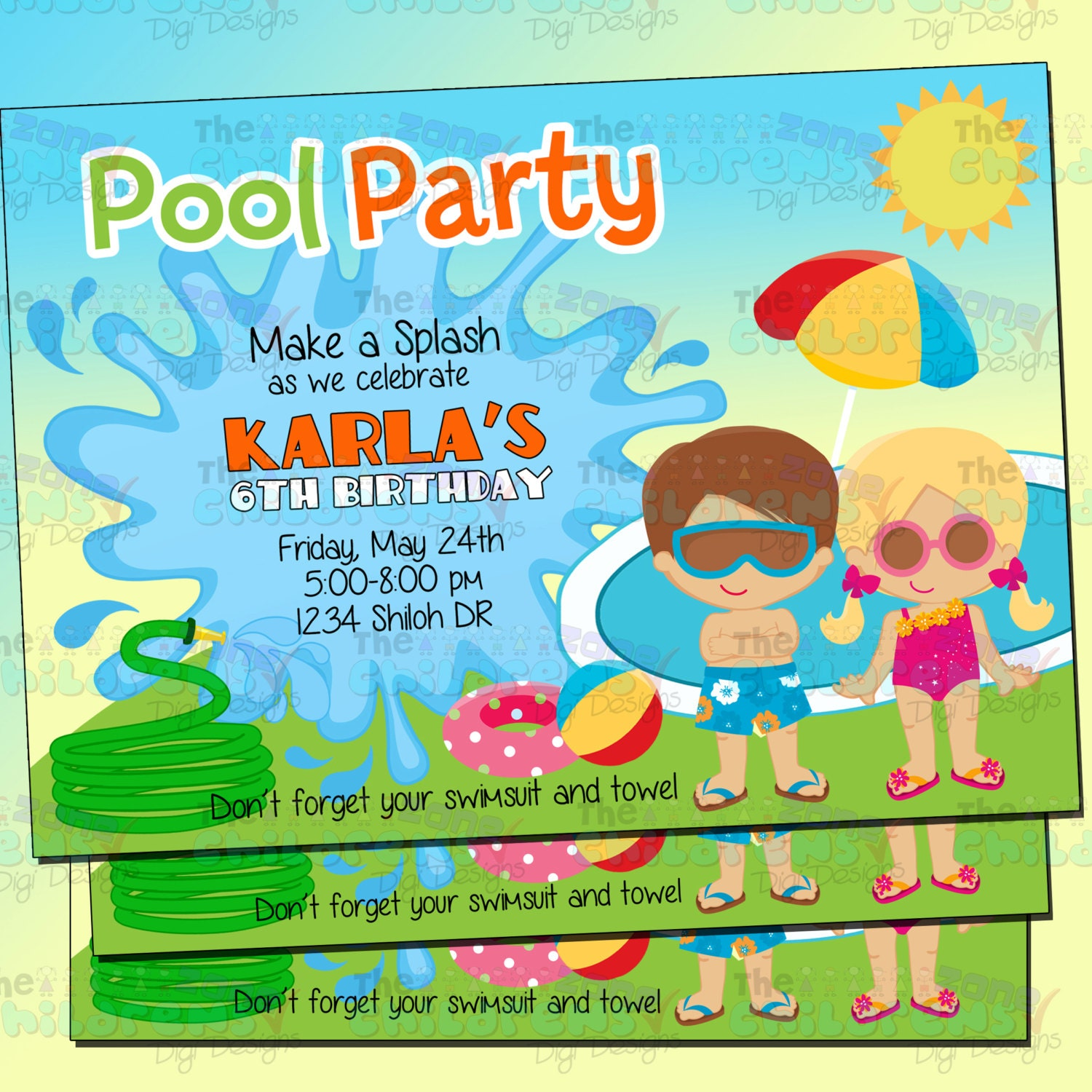 Swimming Pool Party Invitation Pool Party Invitations Summer