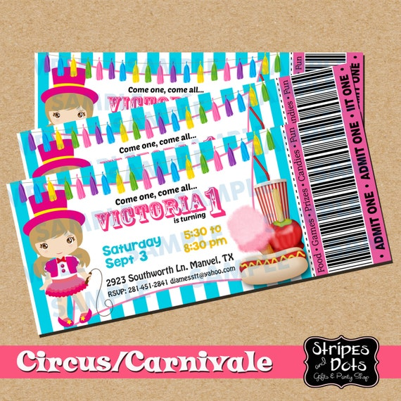 ticket circus invitation circus circus party carnival etsy