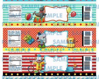 Blank Circus Water label- Circus Labels-Circus Party-Birthday Boy-Carnival Party-Carnival Favors-Carnival Water Labels-Clowns-Blank labels