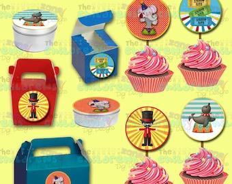 Circus Cupcake Toppers- Circus Stickers-Circus Party-Circus Favors-Carnival Party-Carnival Favors-Carnival Cupcake toppers-Circus labels