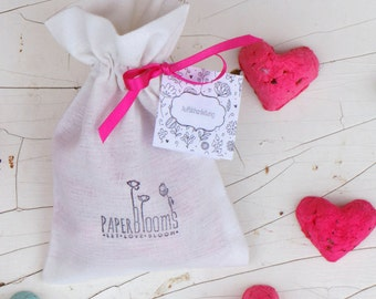 10 colorful seed hearts in a muslin bag - sustainable gift idea, wedding favor