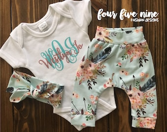 Baby Girl Boho Floral Outfit