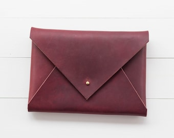Classic Leather Envelope Clutch - Burgundy