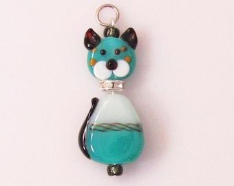 Collared Cats Lampwork Glass Pendant