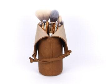 Makeup Organizer Makeup Brush Holder Home Decor Gift For Her Makeup Brush Roll Leather Makeup bag  Brush Bag Travel Cosmetic Bag Mom Gift