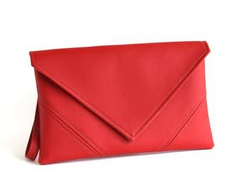 0ce87f23d392 Red Clutch Bag Bridesmaid Clutch Crossbody Purse Vegan Leather Clutch Purse  Evening Bag Vegan Purse leather Clutch Evening Clutch