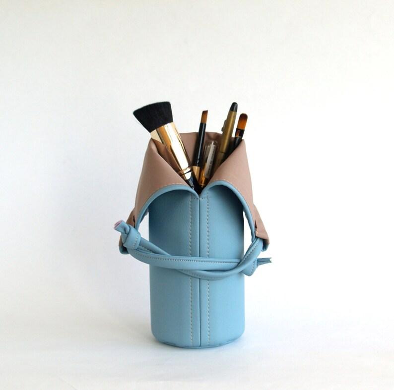 c3e41e4410 Sky Blue Makeup Brush Bag Vegan Makeup Bag Vegan Leather