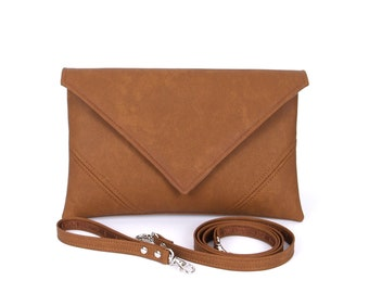 Gift For Mom, Brown Clutch Bag, Leather Handbag, Vegan Leather Clutch Purse, Small Crossbody Purse, Bridesmaid Clutch, Vegan Bag Evening Bag
