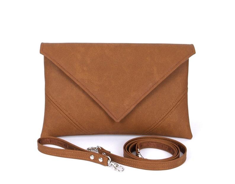 Gift For Mom Brown Clutch Bag Leather Handbag Vegan Leather image 0