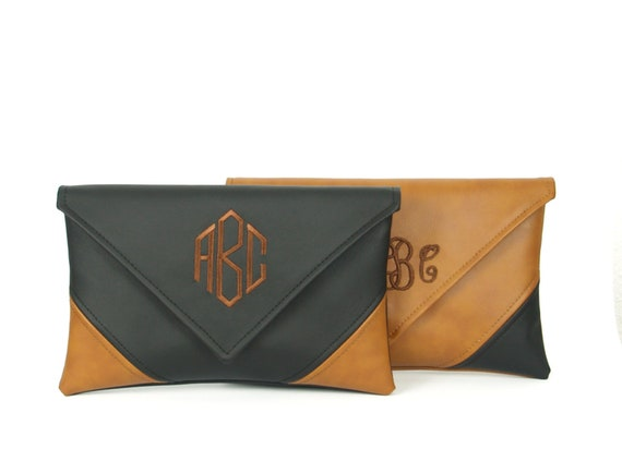 Monogrammed Clutch, Christmas Gifts For Women, Clutch Bag, Leather Bag, Vegan Handbag, Personalized Clutch, Custom Clutch, Crossbody Wallet