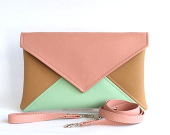Mint Pink Clutch Bag Wristlet Clutch Gift For Women Bridesmaid Clutch Purse Vegan Leather Clutch Evening Clutch Purse Wedding Clutch Vegan