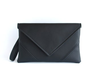 Black Clutch Purse, Gifts for mom,  Black Crossbody Purse, Cross Body Clutch, Vegan Leather Clutch Bag Evening Bag  Vegan Bag Evening Clutch