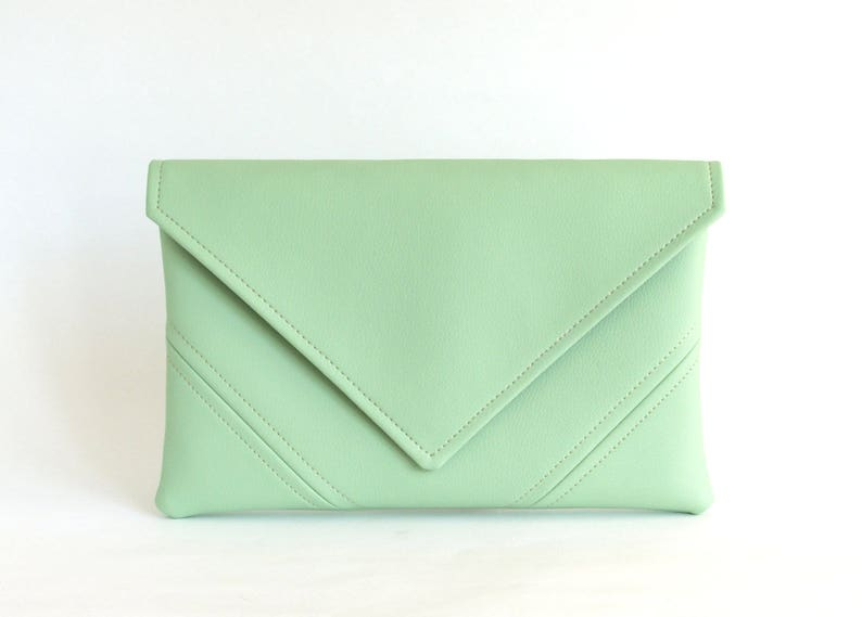Mint Clutch Purse Vegan Bag Bridesmaid Clutch Bag Gift For Her image 0