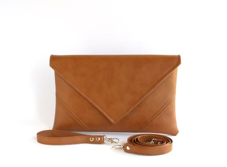 Brown Clutch Bag Mother gift Vegan Leather Clutch Purse image 0