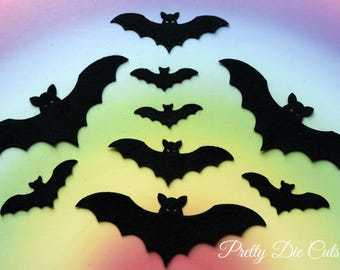 Bats made from Black Felt, Mixed Size Halloween Die Cut Craft Embellishments