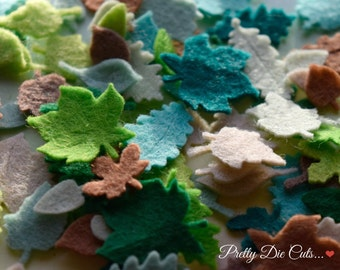 Felt Leaves, Small Decorative leaf shapes, Green, Brown and Autumn Shades, Pretty Die Cut Craft Embellishment