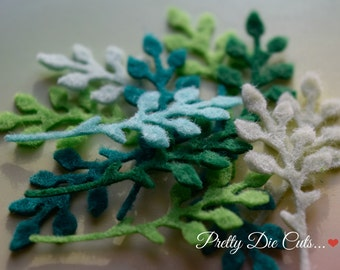 Felt Foliage, Small delicate Felt Leaf, Decorative Green Leaves, Die Cut Craft Embellishment