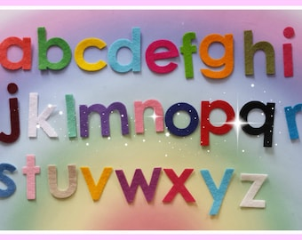 Iron on Felt Die Cut Alphabet, Upper and Lower Case Alphabet Sets, Mixed Colour Letters, Pretty Die Cut Craft Embellishment