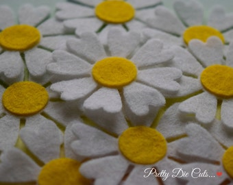 Daisies, White and Yellow Felt Daisy Spring Flower Shape Packs,Pretty Die Cuts Floral Craft Embellishments