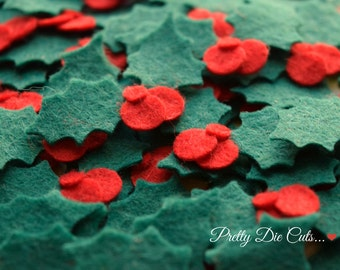 Felt Holly, Green Leaves with Red Berries, Christmas Felt Leaf Shapes, Pretty Die Cut Craft Embellishments