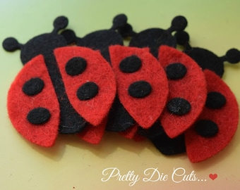 Felt Ladybirds (style 2), red and black ladybugs, craft insects, pretty die cut craft embellishments,