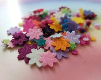 Mixed Mini Felt Flower Packs, Tiny Mixed Coloured Flowers, Die Cut Craft Embellishments