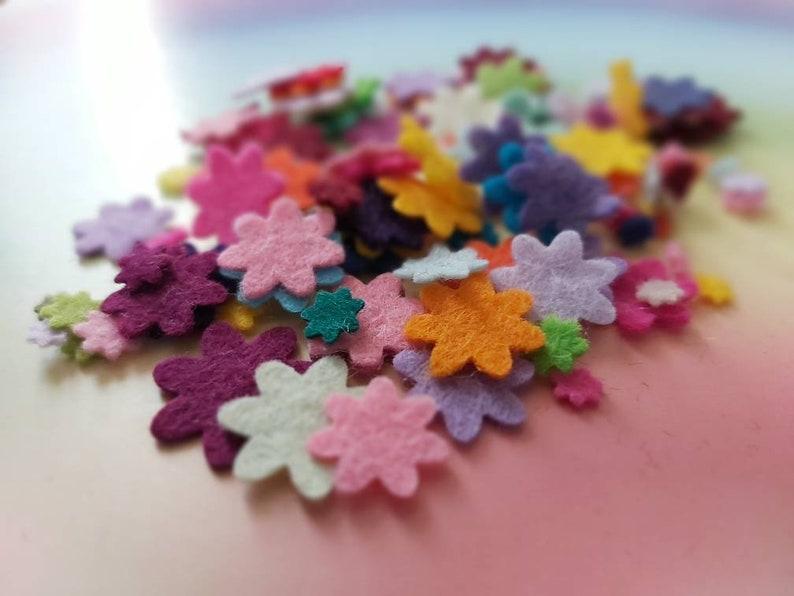 Mixed Mini Felt Flower Packs Tiny Mixed Coloured Flowers Die image 0