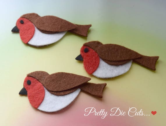 Felt Robins layered Christmas birds Die Cut Craft Embellishments 3