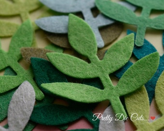Felt Leaf Shapes, Green decorative Leaves, Floral Foliage Felt Board Craft, Die Cut Embellishment