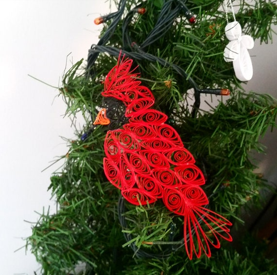 Quilling Bird Cardinal Ornament Red Christmas Bird Cardinal Etsy