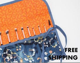 Makeup Brush Rolling Case, Travel Makeup Brush Roll, Quilted Makeup Brush Roll, Cosmetic Brush Case, Brush Storage, FREE SHIPPING