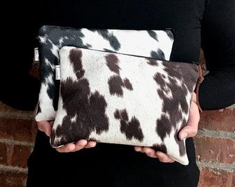 Cowhide bag, Black Cowhide, Brown Cowhide, Faux Fur Clutch Bag,Animal print,Cowhide purse, Zip pouch, Makeup bag,cosmetic bag. Cowhide Bag