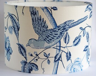 Chinoiserie blue and white Laura Ashely Summer Palace fabric drum lampshade - 30cm diameter shade