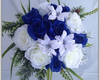 Wedding bouquets event decor custom home by bloomsofgracedesigns royal blue round bouquet roses blue and white wedding bouquet mightylinksfo