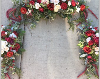 Wedding arch decoration, burgundy swag, red wedding flowers, arbor decoracion. Payment options, other colors.