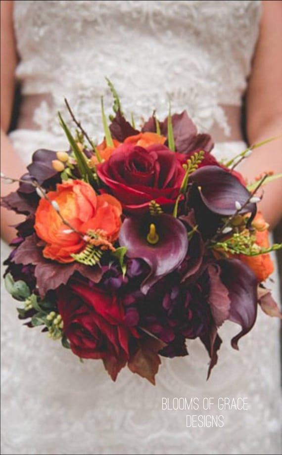 Herbst Hochzeit Bouquet Pflaume Hochzeitsblumen Herbst Etsy