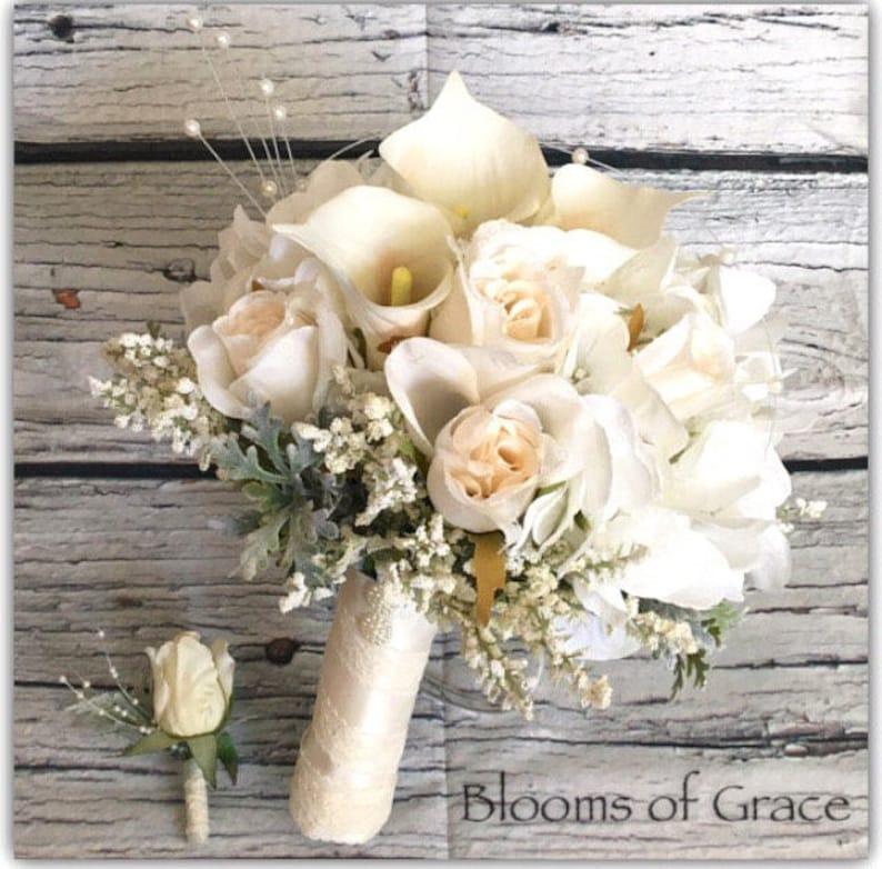 hydrangeas and pearls White bride bouquet calas wedding. bridal bouquet