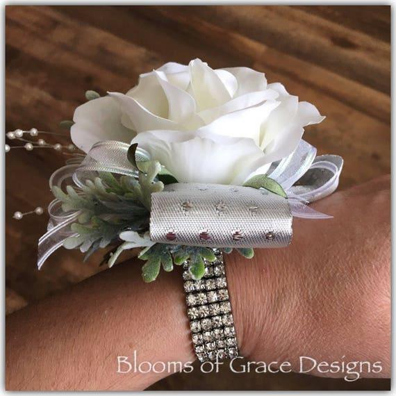 White wrist corsage prom flowers wedding corsage silk etsy image 0 mightylinksfo