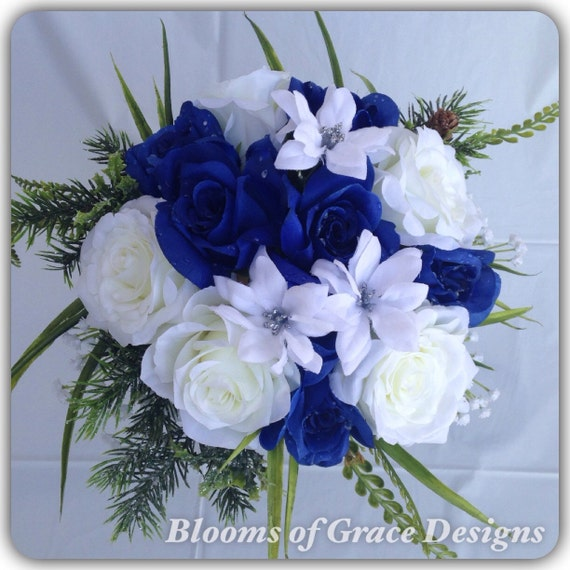 Royal Blue Round Bouquet Roses Blue And White Wedding Etsy