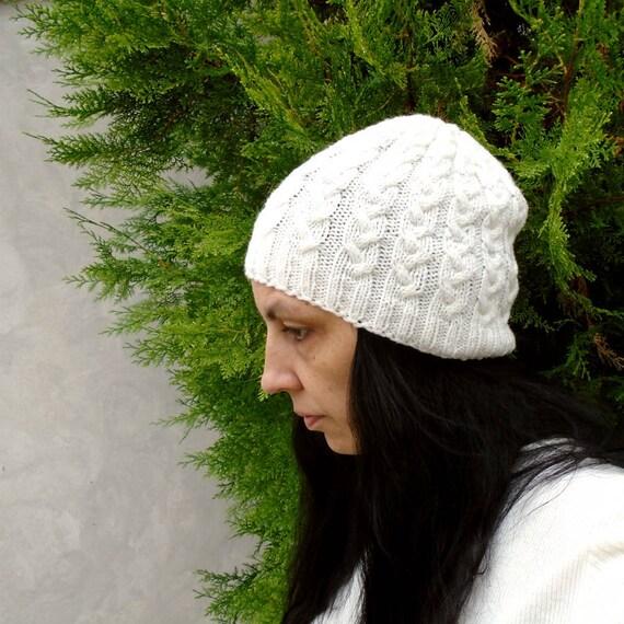 2e4ca5366413b Off white beanie hat White knit beanie Women s knit