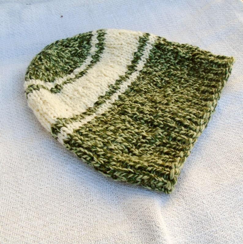 Unisex knit beanie Green slouchy hat Green beige hat Unique gift Wool knit beanie Beige green beanie