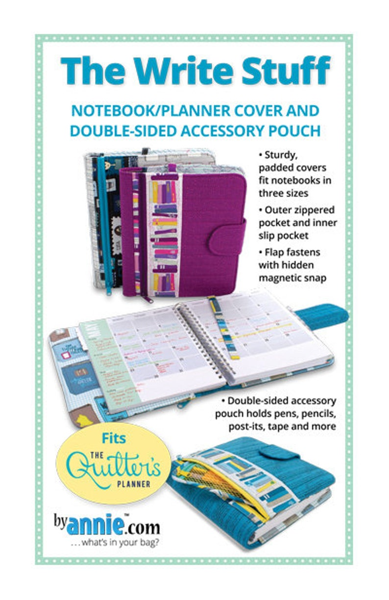 The Write Stuff/Patterns by Annie/paper pattern/zipper  compartments/organizer/Quilter's Planner cover/PBA260/padded cover for  notebooks