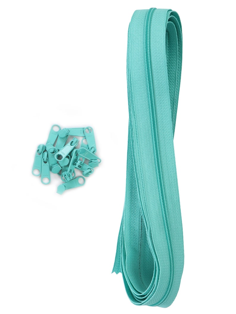 YKK Nylon Coil Zipper Tape # 10 Turquoise 5 yards with 5 Nickle Zipper Sliders