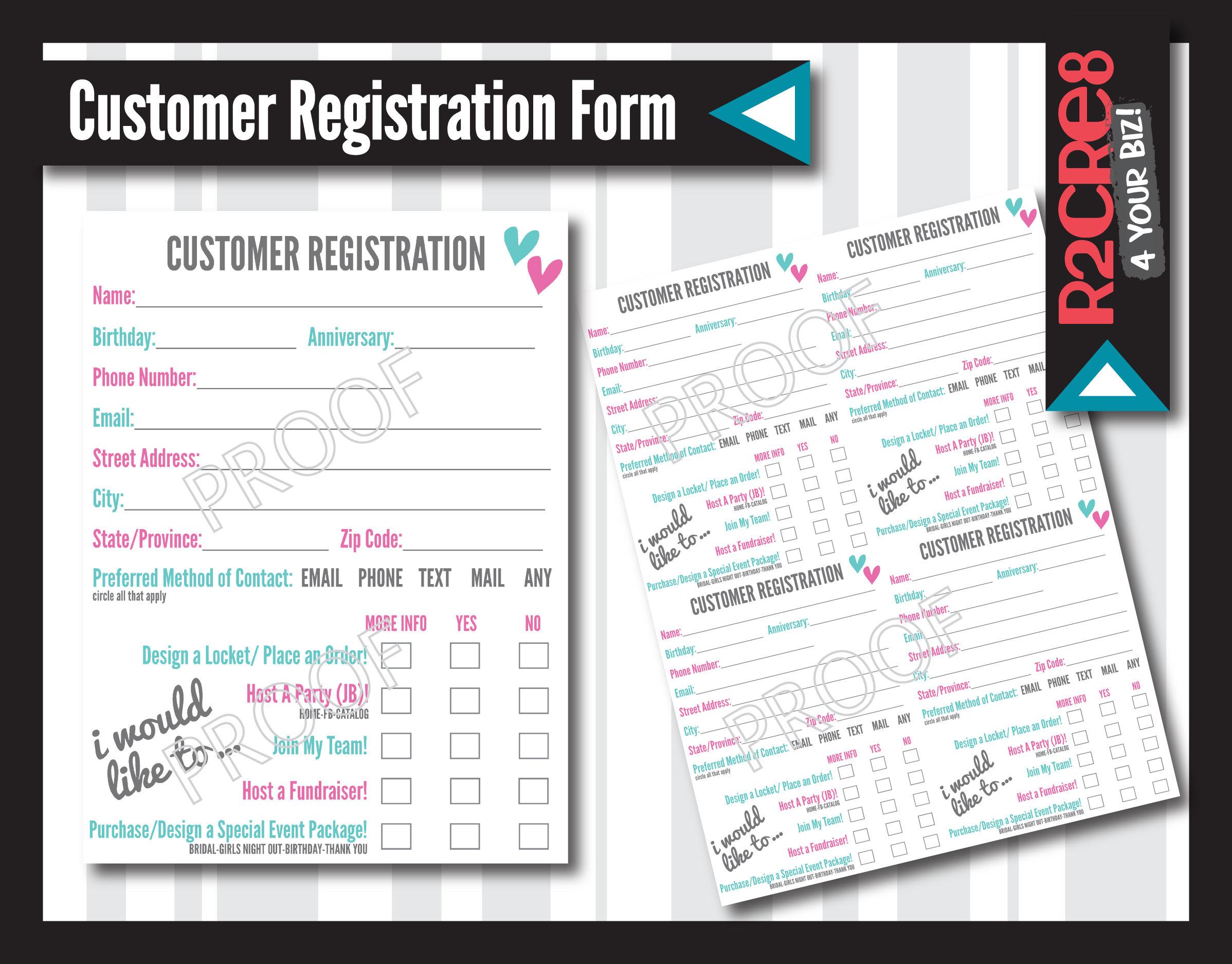customer info registration cards us  cad printable  etsy