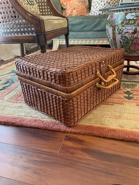 Vintage Wicker Suitcase, Wicker Picnic Basket Wick