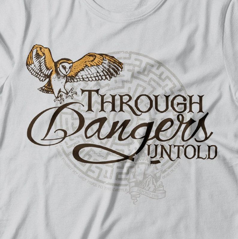 Through Dangers Untold  Women's Labyrinth, Maze, David Bowie, Owl t-shirt  in Silver