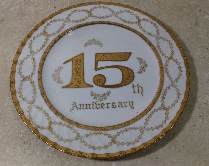 Norcrest Fine China B 561 Happy 15th Anniversary Gold Border  Decorative Poecelain Call Plate