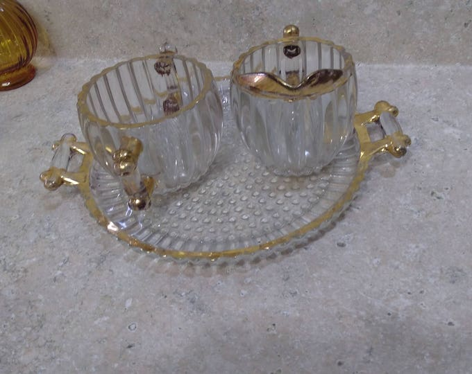 Jeannette National Pattern Creamer And Sugar Mid Century 1950's Glass Vintage Glass Hobnail Base Ridged 22 K Gold Rim Set With Plate Tray